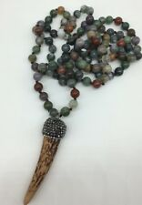 Fashion Long Knot Beads Green Agate w ox horn pendant Necklace Handmade