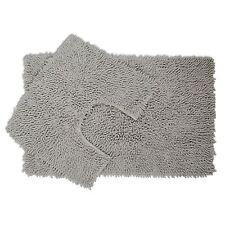 2 Piece Chenille Cotton Bath Mat and Pedestal Set with Anti Slip Back - Silver