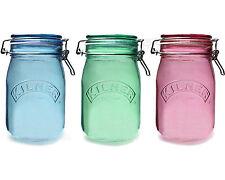 Set di 3 1 LITRO Kilner Clip Top Colore Vetro Tè Caffè Zucchero Storage vasi barattoli
