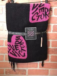 "Victoria's Secret LOVE VICTORIA Throw Blanket w Fringes 50X60"" Pink & Black"
