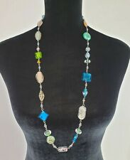"Premier Designs Venetian Colorful Art Glass Beaded Necklace 33-36"" Silver Tone"