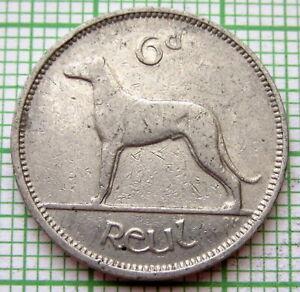 IRELAND 1940 6 PINGIN PENCE SIXPENCE, IRISH WOLFHOUND DOG, NICKEL