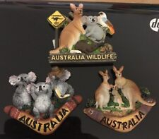3X Aus Souvenir Fridge Magnet 3D Koala Wildlife Boomerang Kangaroo Road Sign