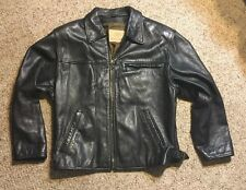 Georgetown Leather Design Leather BLACK Men Jacket Sz S MOTORCYCLE BUCKLE RIDING