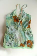 WESC Ladies Vest Top Floral Summer Surf, Green Blue Orange, Womens UK XS 8