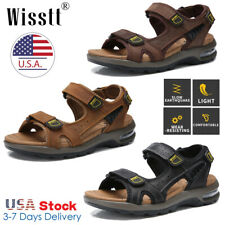 Mens Hiking Breathable Leather Sandals Outdoor Open Toe Fisherman Flat Shoes USA