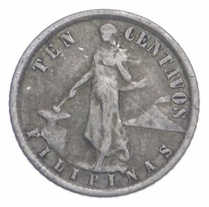 SILVER Roughly Size of Dime 1918 Philippines 10 Centavos World Silver Coin *882