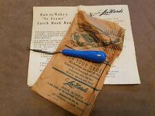 Vintage LeeWards Latch Hook Rug Hooking Tool & Instructions 1969, Germany