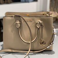 Michael Kors Small Leather Beige Gold Bag Crossbody Handbag Satchel Womens Purse