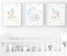 Blue Elephant Nursery Print - Set Of 3 - Baby Room Wall Art - Nursery Decor