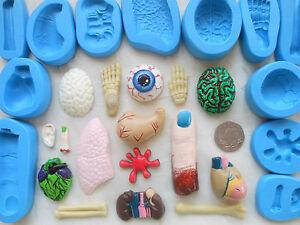 1x Mini Craft Mould: Anatomy Organs / Bones (Zombie Halloween) Clay Cupcake Wax