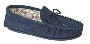 Mokkers real suede Moccasin slip on slippers Style Lily Colour Navy New