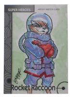 2013 Fleer Marvel Retro Rocket Raccoon Artist Sketch Card Bienfer Flores 1/1