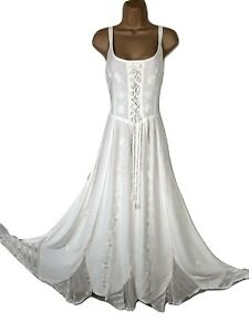 Maxi Summer Dress Corset Pagan Embroidered IVORY Size 10 12 14 16 18 20 22 24