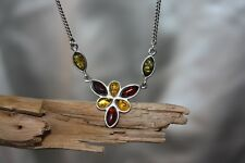 Authentic Baltic Amber Necklace Sterling Silver 925  Cognac, Green, Butterscotch