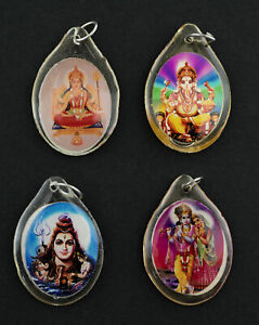 A Sospensione Medaglietta Shiva Parvati Durga Krishna Dieu Indù Talisman Resina