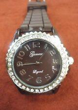 Geneva Quartz Crystal Bezel Brown Silicone Band Watch