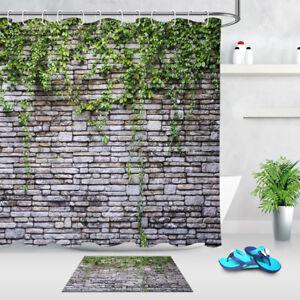 Waterproof Fabric Green Vine Brick Wall Shower Curtain Liner Bathroom Set Hooks