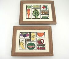 Vintage Needlepoint Pictures of Fruits and Vegetables Framed Kitchen Wall Decor