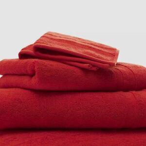 "$49 Ralph Lauren Red Payton Cotton Sateen Terry 32"" x 16"" Bathroom Hand Towel"