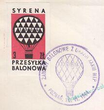 POLAND 1964.VI.20 Ballon SYRENA, Mail Cat.39a Start POZNAN - KORNIK landing
