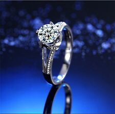 Women Ring 925 Sterling Silver Plated Simulated Diamond Wedding Engagement Gift