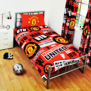Manchester United Single Duvet Football Club Patch Bedding Cover Set
