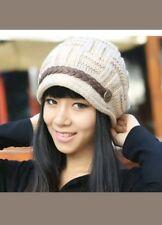 Vintage inspired sand beige Winter Women Baggy Beanie Knit Crochet Beanie Hat