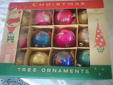 "VINTAGE 12 CHRISTMAS GLASS ORNAMENTS BULBS N BOX - 3.5"" - PROBABLY 1940-50'S"