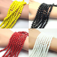 New 20-100Pcs Rondelle Faceted Crystal Glass Loose Spacer Beads 4/6/8/10mm