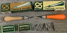Lot Of Vintage Speedball Linocut Cutters Linoleum Tools Printmaking