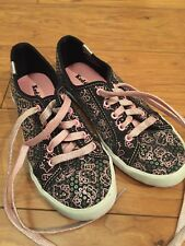 Keds 1.5 Girls Hello Kitty Casual Trainers Sneakers Black Pink Sequin