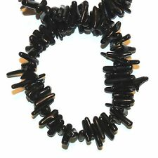 """CRL152f Black Bamboo Coral Cupolini 10-16mm Branch Gemstone Beads 15"""""""