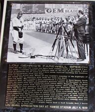 Lou Gehrig Appreciation Day Luckiest Man Alive Full Speech Engraved Plaque