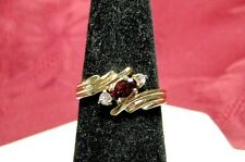 14K HGE GOLD ELECTROPLATED OVAL GARNET WITH CRYSTAL STONES ACCENTS RING SIZE 6