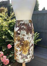 TU Cotton Knee Length Floral Straight Pencil Skirt UK 16 Yellow Daffodil Print