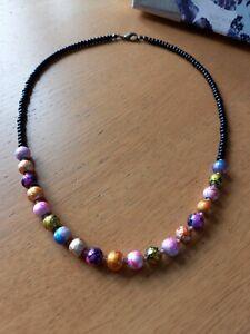 Black & bright multicoloured beaded necklace ~ hippy love beads