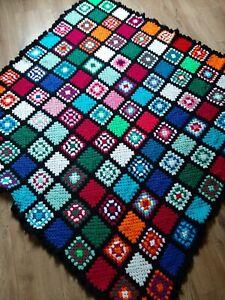 Vintage Retro Crochet Blanket Throw (155x163cm) granny square wool boho Handmade
