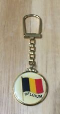 Vintage Belgium Gold Flag Squeeze Keychain Key Ring