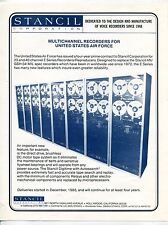 """Vintage STANCIL Sales Sheet: """"MULTICHANNEL RECORDERS FOR USAF"""""""