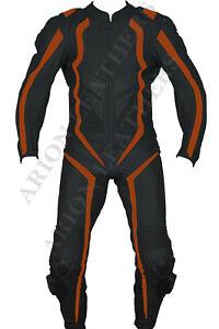 Motorcycle Orange Leather Suit 2 piece 1 Piece Motorbike Suit