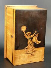 More details for antique italian sorrento ware inlaid wood jewellery box folk dancers