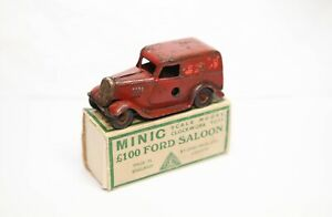 Triang Minic Royal Mail Van In Ford Saloon Original Box - Vintage Clockwork