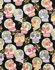 Alexander Henry De Los Muertos Sugar Skull Glitter Calavera Black Fabric