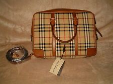 Burberry Bag tan horseferry check leather, newburg convertible,briefcase NEW