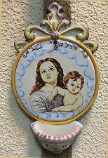 Benditera handpainte , Holy Water Font - VIRGEN CON NIÑO ceramic Talavera, Spain