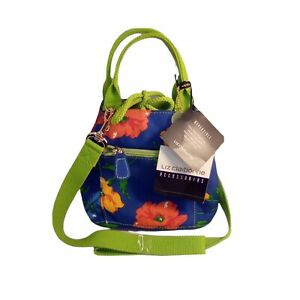 Liz Claiborne Blue And Lime Reversible Shoulder Bag With Tags
