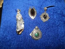 4 Gemstone Sterling Silver Pendant Lot Onyx, Geode, Star Diopside, Turquiose