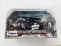 TRANSFORMERS HUMAN ALLIANCE BARRICADE & FRENZY RD-24 ROBOT FIGURE TOY POLICE CAR