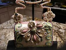 MARY FRANCES DECORATIVE BEADED & FLOWERED EVENING BAG-GORGEOUS !!!!!!